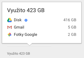 Kliknutím na modré kolečko s písmenem i zobrazíte seznam největších souborů na Disku Google.