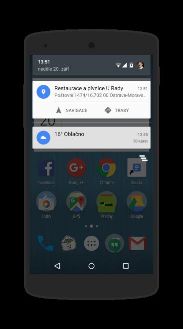 Na telefonu vyskočí notifikace s možností okamžitého spuštění navigace