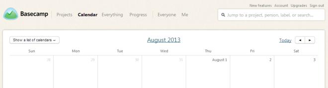 Basecamp - kalendář - neděle