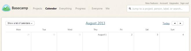 Basecamp - kalendář - pondělí