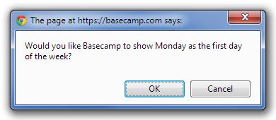 Basecamp - kalendář - první den
