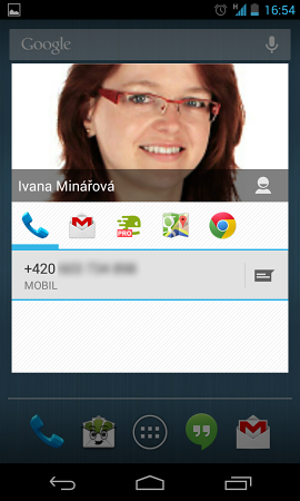 Kontakt - volba akce (telefonát, mail, ...)