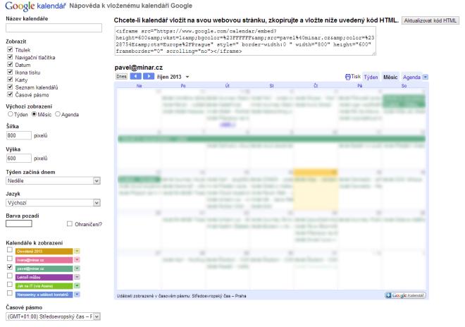 Podrobné nastavení pro vkládaný kalendář