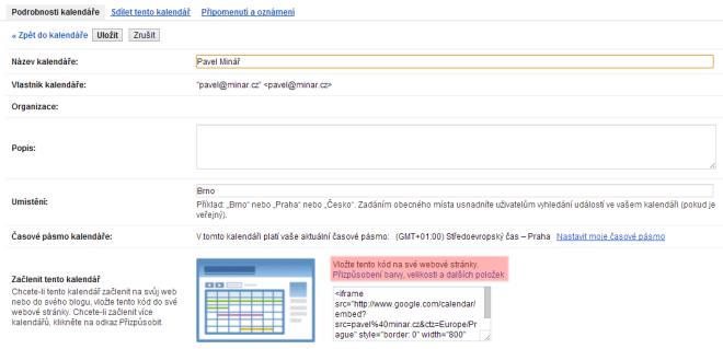 Podrobnosti kalendáře a funkce na začlenění do webových stránek
