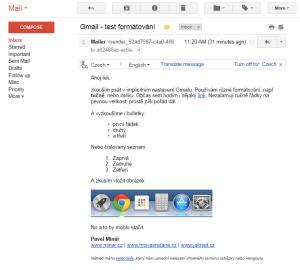 Takto se mail zobrazí příjemci v Gmailu