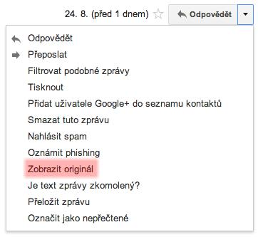 Funkce Zobrazit originál zobrazí mail v MIME formátu.