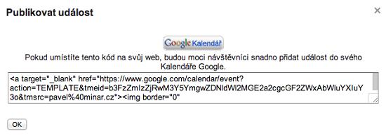 HTML kód pro umístění na váš web.