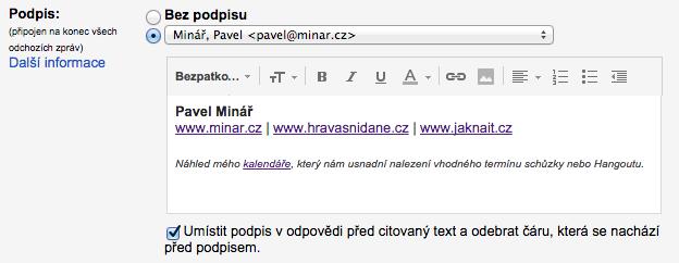 Nastavení automatického podpisu v Gmailu
