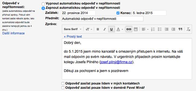 Gmail - nastavení odpovědi v nepřítomnosti