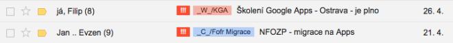 Pokud mám v doručené poště důležitý email, který je starší jak 3 dny, objeví se u něj štítek !!!.