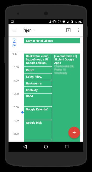Kontrola harmonogramu na mobilním telefonu - modrý značka ukazuje aktuální čas